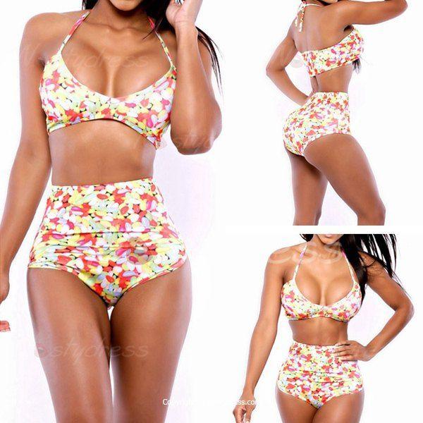 Sexy Halter Printed High-Waisted Push Up Women's Bikini Set