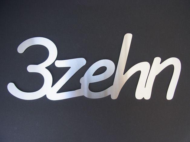 Hausnummern - Edelstahl Hausnummer Schreibschrift Dreizehn - ein Designerstück von THaz-Edelstahldesign bei DaWanda