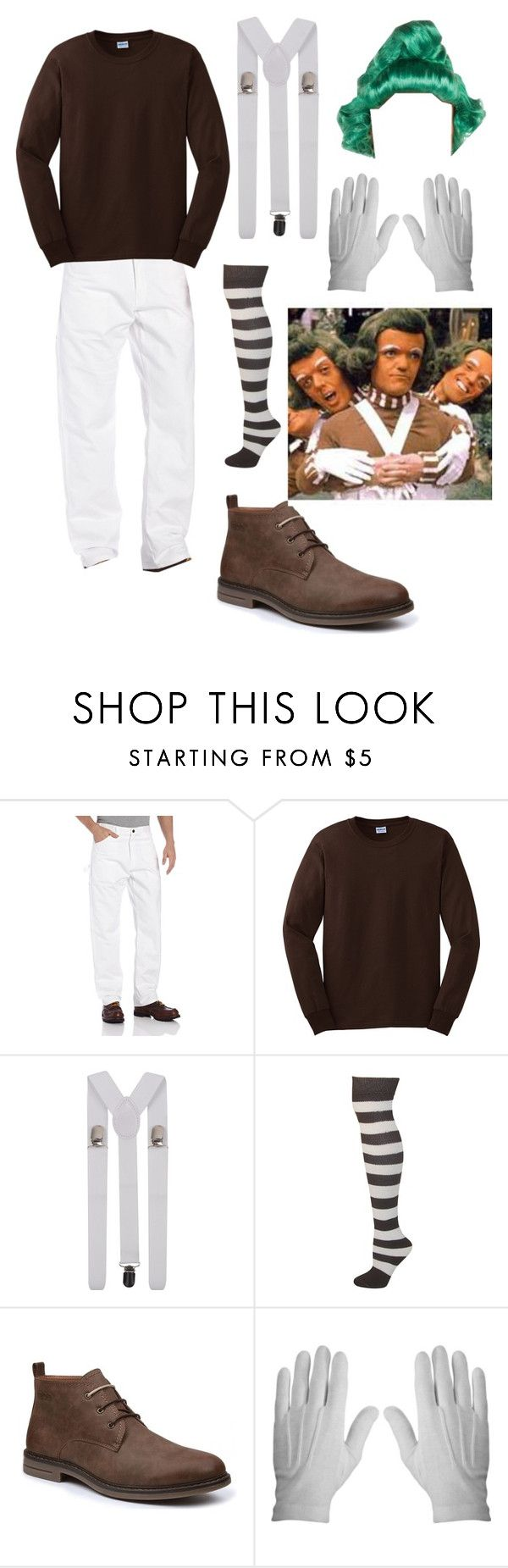 """Men's Oompa Loompa Costume"" by itsafabulouslife ❤ liked on Polyvore featuring men's fashion and menswear"