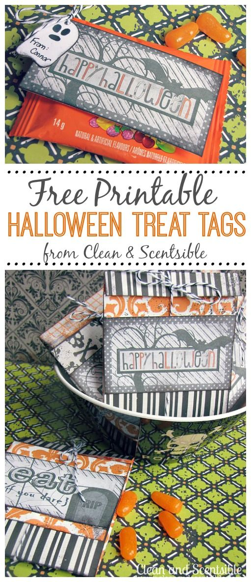 Free Halloween Treat Tags - such a cute way to quickly dress up Halloween candy!