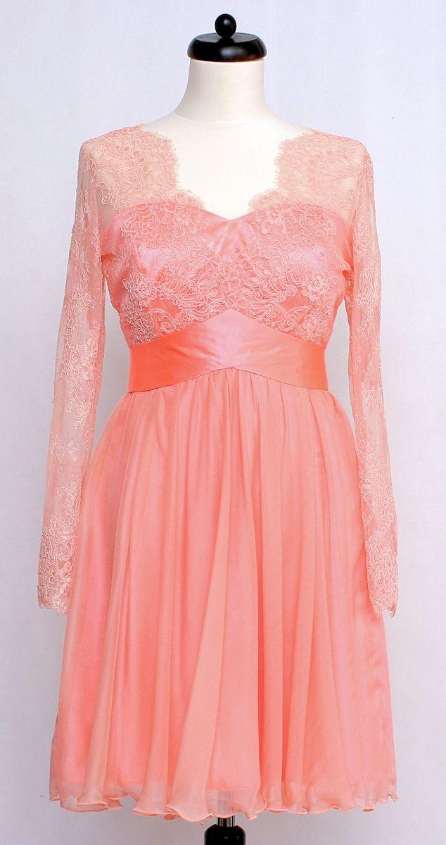 Koronkowa sukienka z malowanym jedwabnym szyfonem