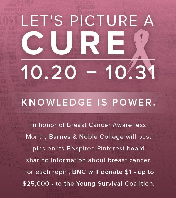 Keep an eye out for our Picture a Cure pins throughout the next two weeks. For each repin, we will donate $1 - up to $25,000 - to the Young Survival Coalition. #BreastCancerAwareness