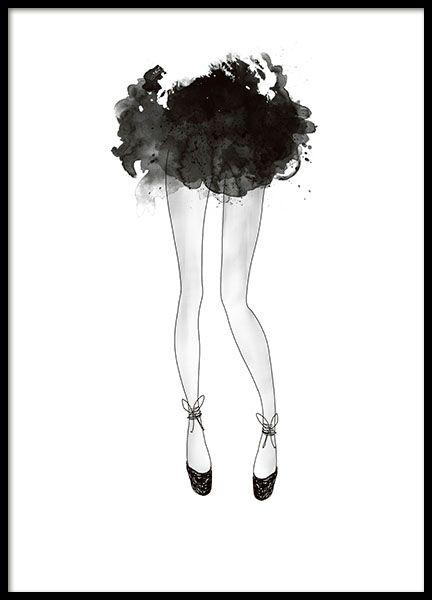 Plakat med illustrasjon av ballerina og svart skjørt.