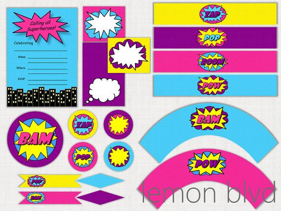 Superhero Girl Party Printable Package - Instant Digital Download - Super Hero Girl Party Pack