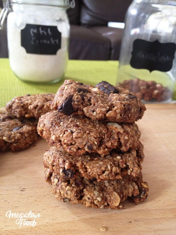 Cookies pralinés chocolat-noisettes de Marie Chioca – IG bas – Noisettes, Son d'avoine, Purée d'amandes et de noisettes