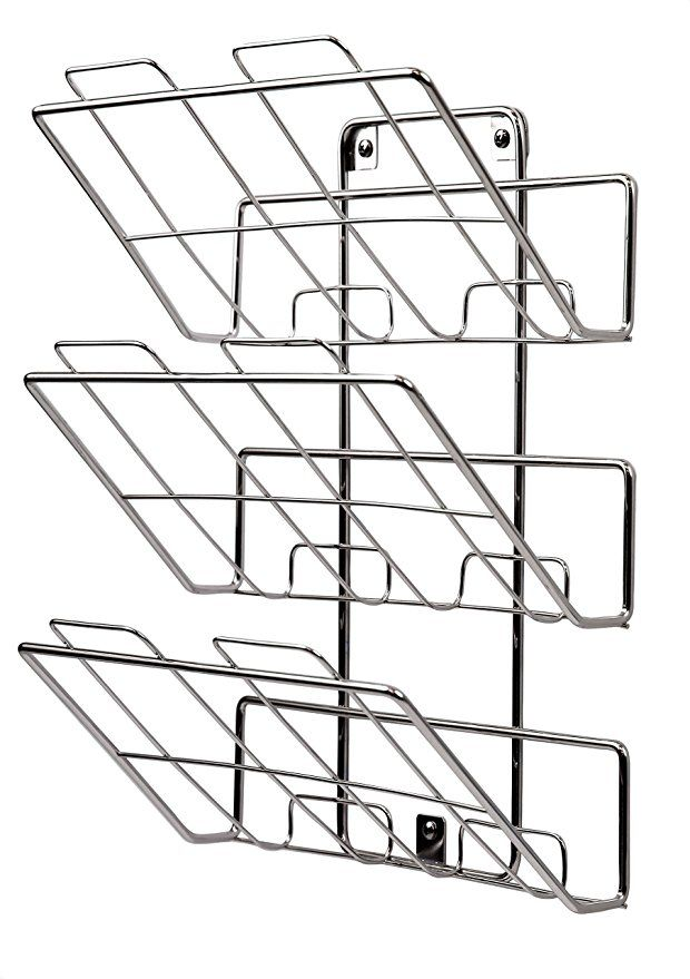 Spectrum Diversified File Holder And Magazine Rack 3 Tiers Wall Mount Chrome File Holder Spectrum Diversified Wooden Magazine Rack