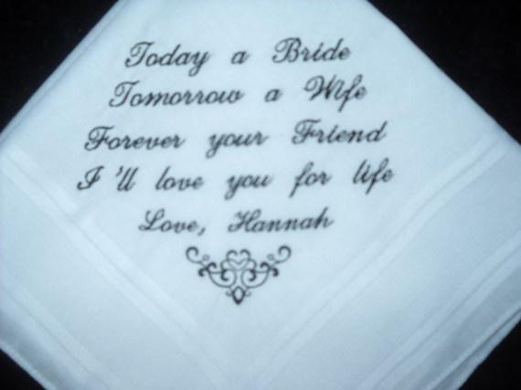 Wedding Hankie Handkerchief Poem From Bride To Groom