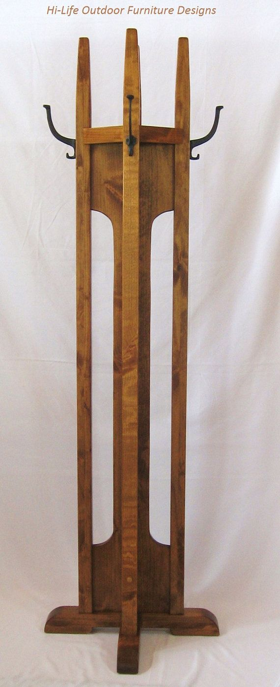 Arts and crafts hall tree - Handmade Coat Tree With Shelf Alder Wood 4 Cast Iron Hook Hat Stand