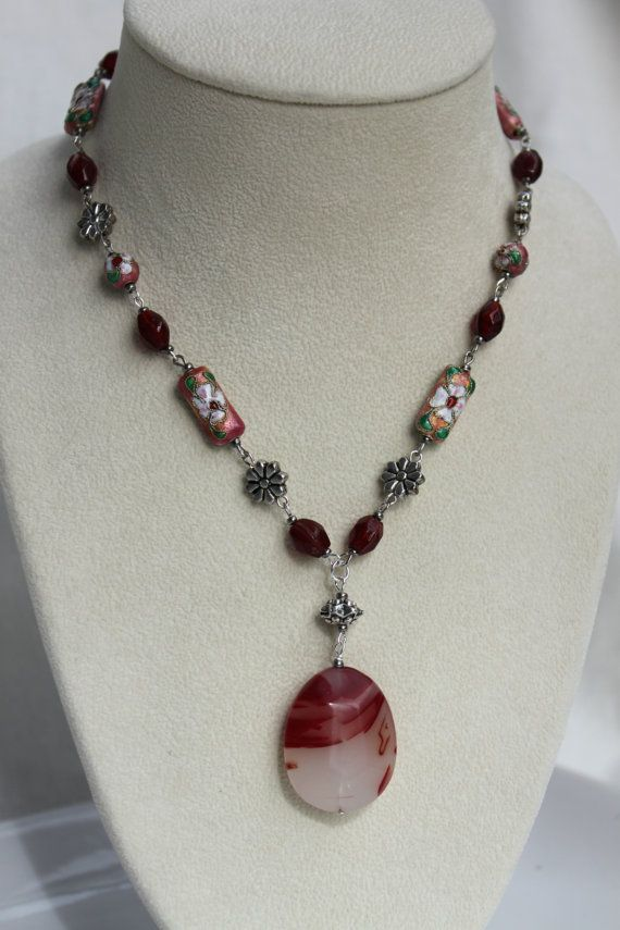 Red and Peach Cloisonne Beaded Necklace with by studiogracie