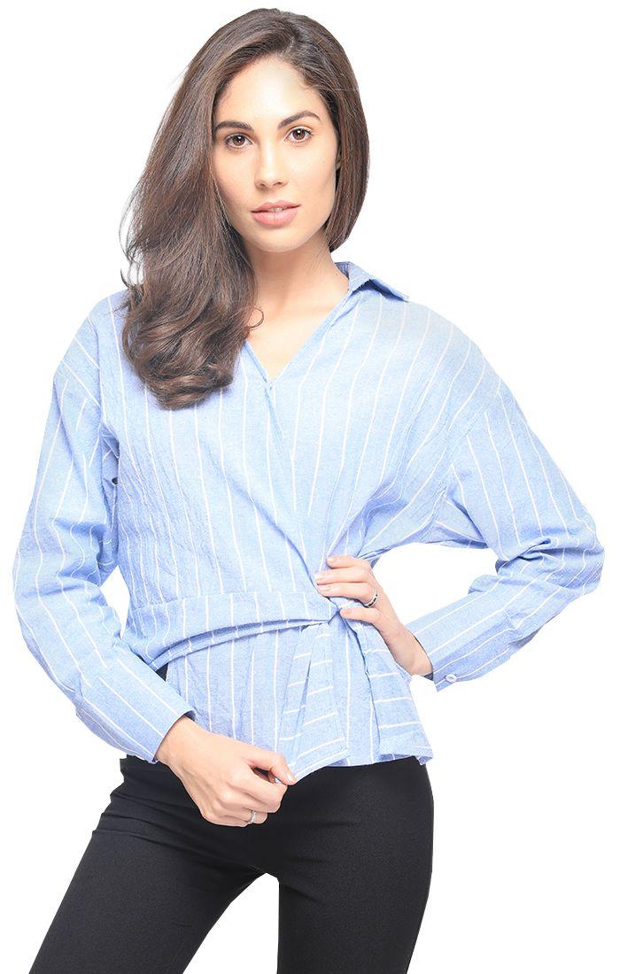 Blue Striped Knotted Surplice Wrap Asymmetric Blouse