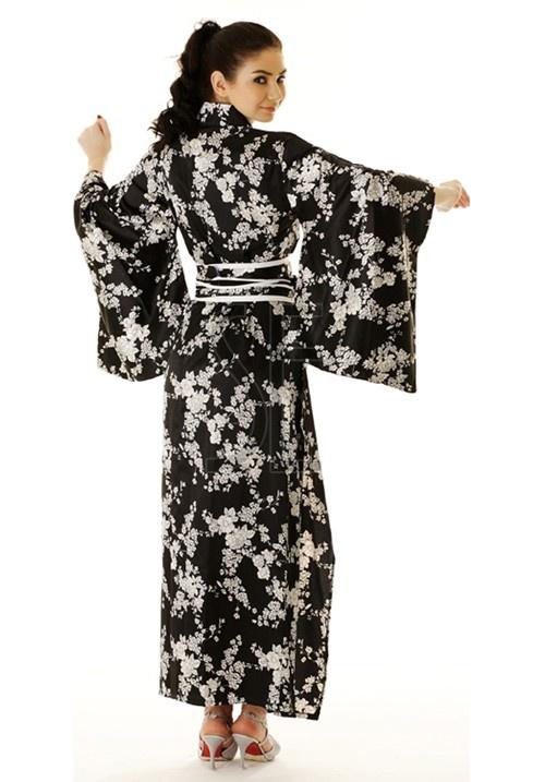 Feminine Black Printed Kimono