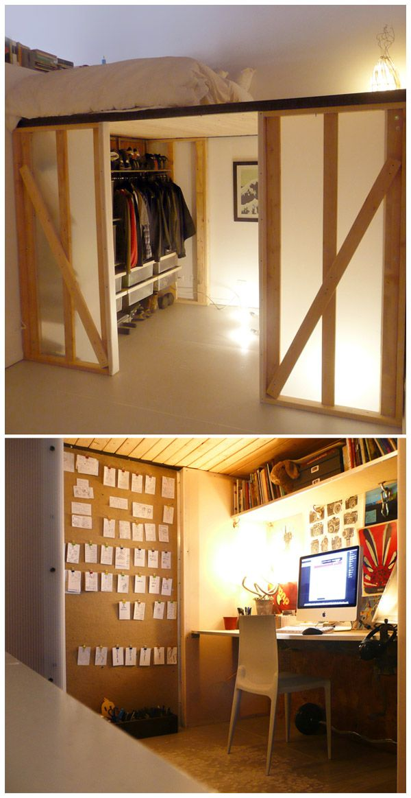 2x4 Lofted cube with coroplast panels, bed on top, closet and workspace below. Cozy.