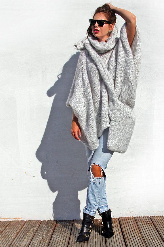 Acogedor suéter Poncho Poncho de punto suéter por AlexandraMilcarz