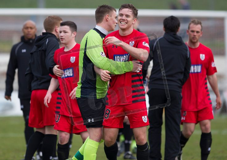 Queen's Park's James Baty celebrates Queen's Park qualifying for the final of the SPFL League One play-offs after the game between Cowdenbeath and Queen's Park.