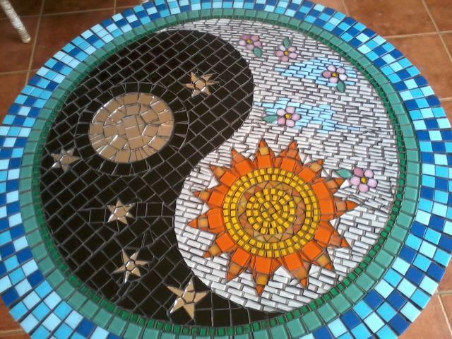 Yin Yang Mosaic table