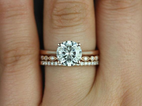 Skinny Flora Ultra Petite Bead Eye Swt Kubian FB Moissanite And Diamonds TRIO Wedding Set Other Metals Stone Available