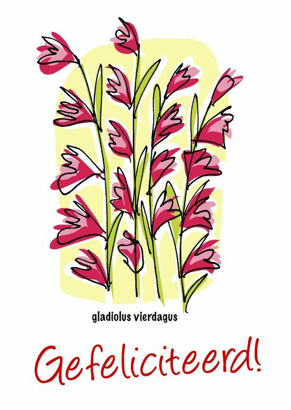 Vierdaagse Nijmegen, gladiolus vierdagus :) Felicitatiekaarten - vierdaagse, verkrijgbaar bij #kaartje2go voor €1,89