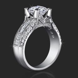 http://www.BloomingBeautyRing.com #VintageUniqueWeddingRings #VintageRadiantEngagementRings #VintageSettings #VintageRoundDiamondRings #UniqueRingSettings