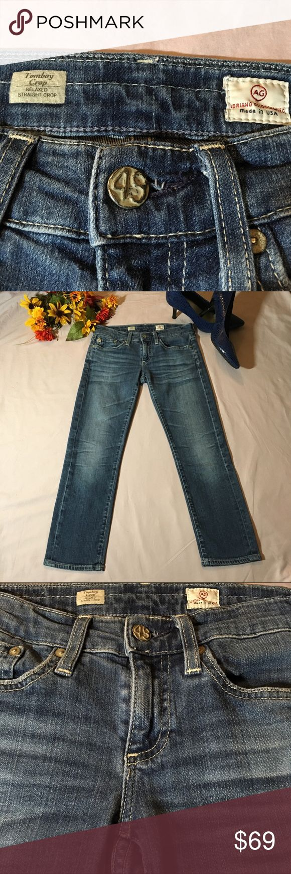 "Adriano Goldschmied Tomboy Crop AG Jeans 24 Excellent condition, gorgeous AG Jeans, Adriano Goldschmied Tomboy Crop size 24. Relaxed Straight Crop. My measurements actually gave me 27"" waist but that is since this is designed to be a looser fit. 24"" inseam, 7"" rise with 3"" zipper. Beautiful wash and whiskering. Cuff up or leave unrolled. 55% cotton, 43% lyocell, 2% polyurethane. Please feel free to ask questions or submit offers! Ag Adriano Goldschmied Jeans Ankle & Cropped"
