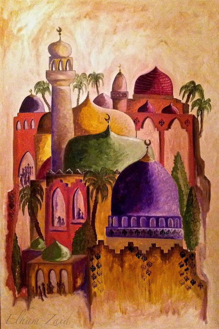 """Elham Zaid Alhulaibah art, Oil on canvas, Title : """" Sindibad Land """" Price : 3400 U.S.D size 120 x 80 cm."""