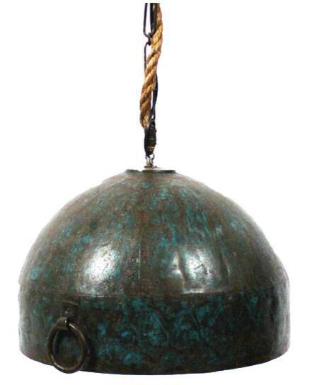 Industrial Iron Lamp With Pulley Rope on Chairish.com