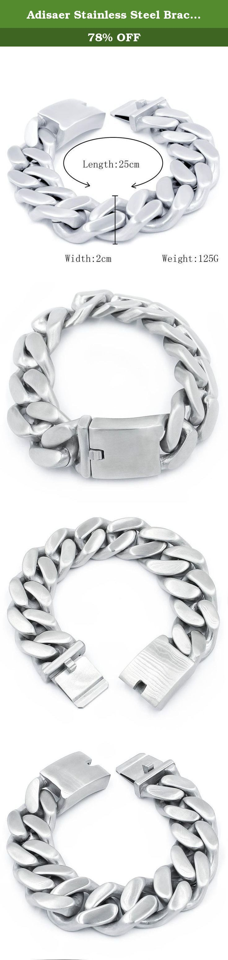 Adisaer Stainless Steel Bracelet Curb Honed Chain Length 25cm Weight 125g. This bracelet is a perfect gift for a man. The bracelet is made of durable highly polished 100% stainless steel. Give it to your true gentleman, or treat yourself for a trendy bracelet style. The bracelet features a modern yet classic fashionable curb chain design. A buckle type of a clasp allows to lock the jewelry securely around your wrist. Gents cutting edge bike chain bracelet, contrasting with the high polish...