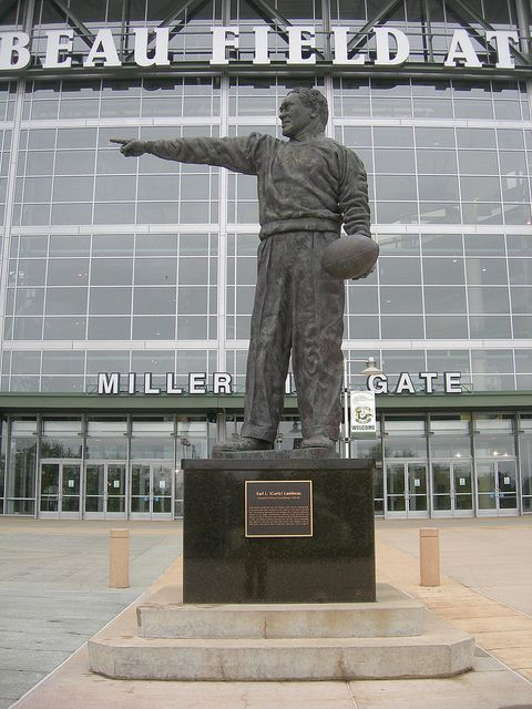Curly Lambeau statue outside the gate of Lambeau Field - we are less than one hour from the infamous Lambeau Field!!