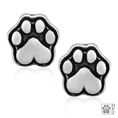 sterling silver paw print earrings, paw print earrings, dog paw earrings, small paw print earrings, tiny paw print earrings, dog products made in the USA, pet products made in the USA, Wholesale dog jewelry,