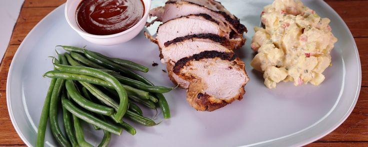 BBQ Brined Spiced Turkey Breast with Potato Salad by Chef Roble on The Chew.  Grill up this delicious turkey just like Chef Roble!