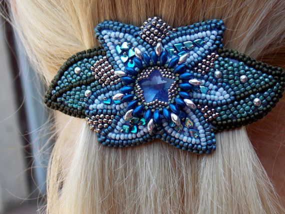 Free Shipping, Bead Embroidery,  Barrette,  Seed bead jewelry,Floral jewelery, Swarovski jewelry, Swarovski,  Blue, Steel, Green, Hair clip by vicus. Explore more products on http://vicus.etsy.com