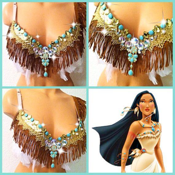 Pocahontas Rave Bra by TheLoveShackk on Etsy