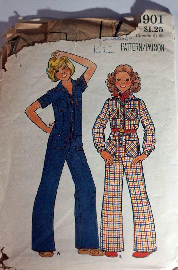 1970s girl's jumpsuit pattern Butterick 4901 by RavensNestPatterns