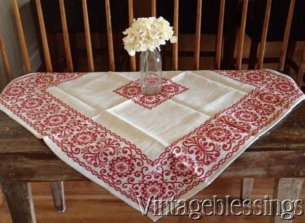 "Beautiful Antique German REDWORK Heavy Linen Rustic Tablecloth 40x39"" www.Vintageblessings.com"
