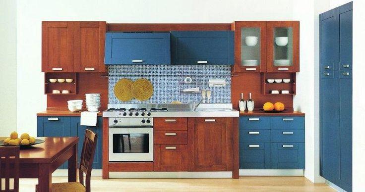 Risultati immagini per cucina blu e ciliegio