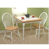 Features:  Table Top Material: -Tile/Wood.  Table Base Material: -Wood.  Chair Material: -Wood.  Chair Back Style: -Windsor.  -Dining set.  -Classic style 3 piece dining set include a square table and