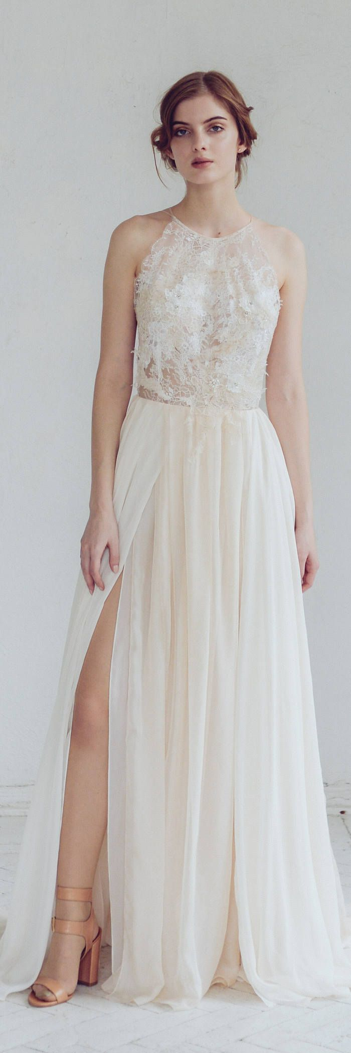 Silk wedding dress/ Melita/ Open back wedding gown, halter-neck wedding dress with slit, lace bridal gown with hand embroidery, summer dress
