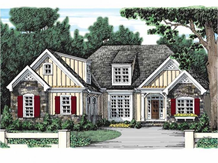 french country style 1 story 3 bedroomss house plan with 1750 total square