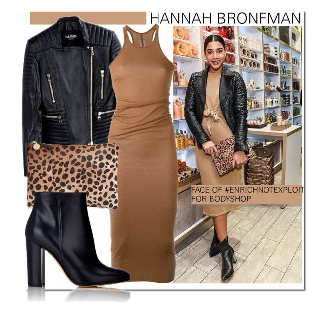 """Hannah Bronfman..."" by nfabjoy ❤ liked on Polyvore featuring The Body Shop, Balmain, Rick Owens, Clare V., Gianvito Rossi, hannahbronfman and EnrichNoptExploit"