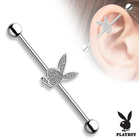 PB Bunny Sparkling Centered 316L Surgical Steel Industrial Barbell Scaffold Barbell - BodyDazzle