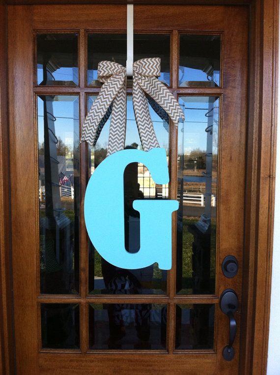Monogram wreath Initial door hanger Large letter on Etsy, $36.00