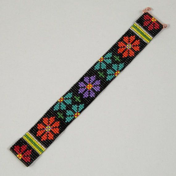 Colorful Flowers Beaded Cuff Bracelet Native by PuebloAndCo