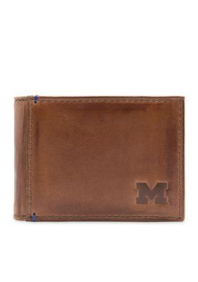 Jack Mason Brown Michigan Campus Front Pocket Wallet