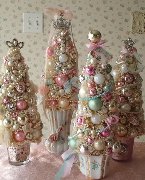 beautiful little pastel sparkly trees