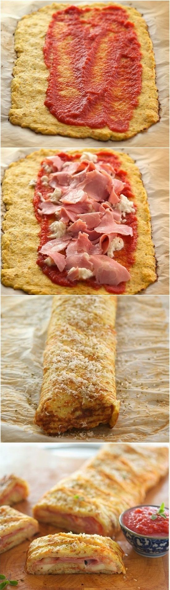 Cauliflower Crust Stromboli- absolutely delicious. Next time double the recipe. Use parchment paper