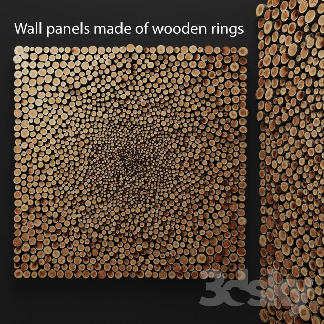 Wall decor of wooden rings.