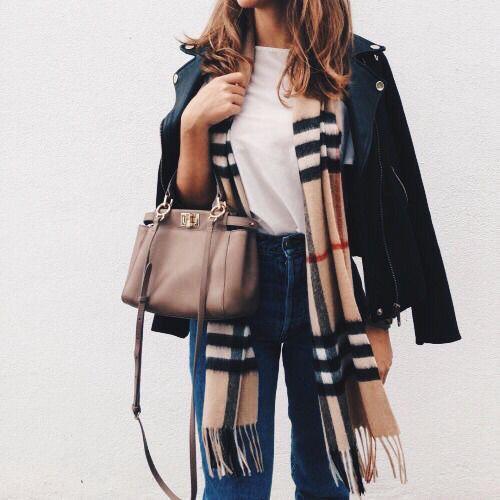 Burberry scarf + moto jacket.