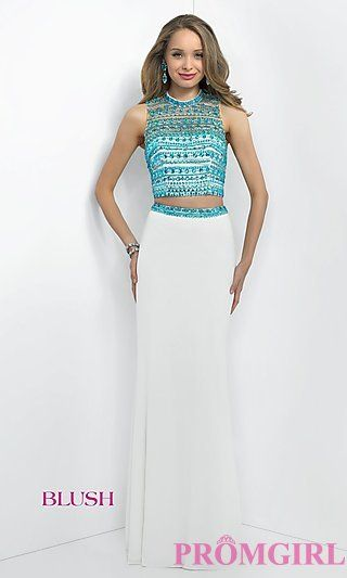 Long Two Piece Illusion Open Back Dress by Blush at PromGirl.com