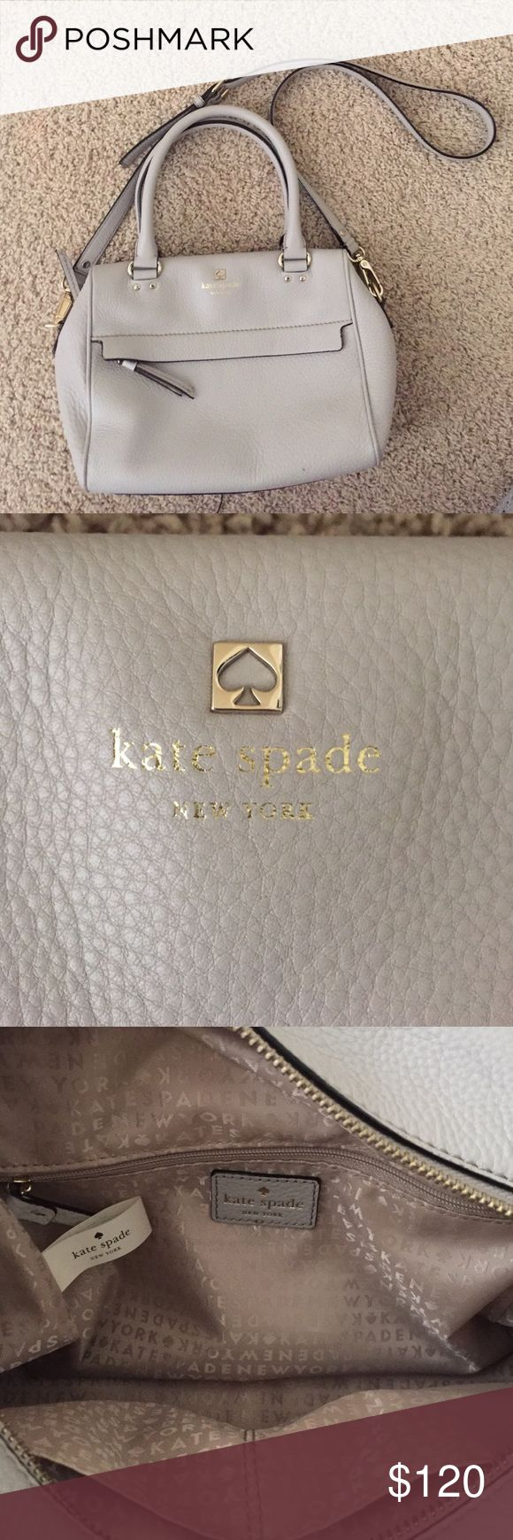 Kate Spade pebbled leather crossbody Dove grey pebbled leather Kate Spade crossbody. Light gold detailing. 1 zippered pocket on outside. 2 pockets and 1 zippered pocket on inside. Gold lining on inside. Adjustable strap. In great condition with the exception of a tiny mark pictured. kate spade Bags Crossbody Bags