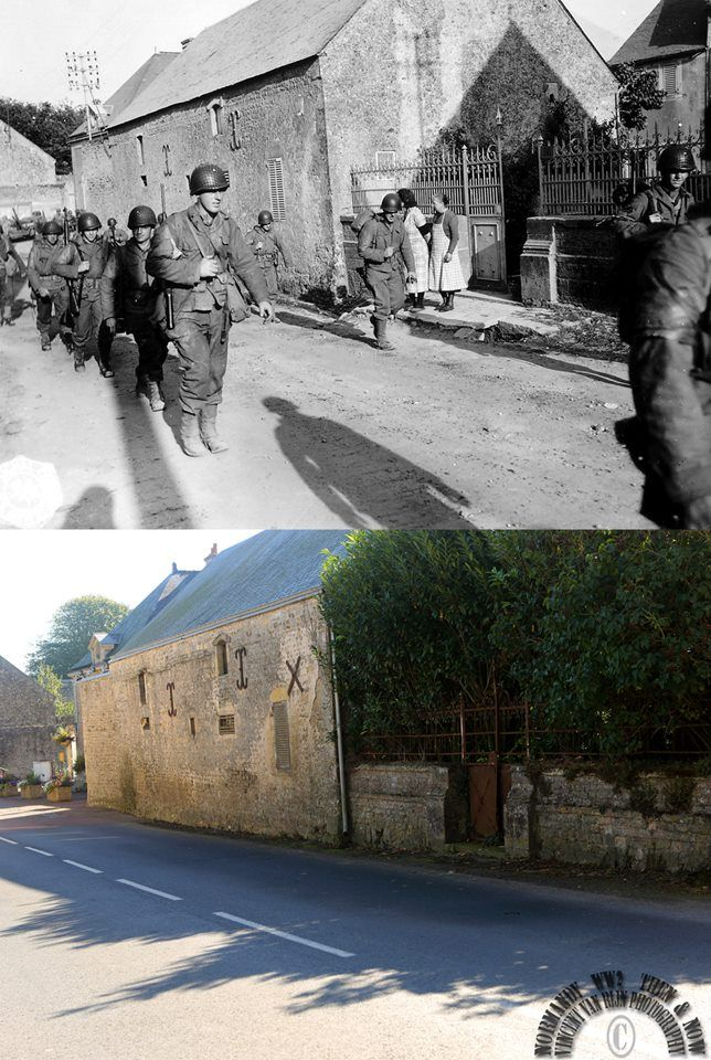 Then and now...  2nd Infantry Division, Colleville-sur-Mer (© Normandy WW2 Then & Now)