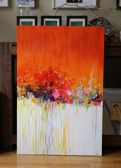 Original abstract painting acrylic flower painting for Painting large flowers in acrylic